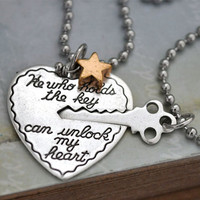 KEY to MY HEART antiqued silver plated two by plasticouture