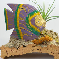 Tropical Fish and Air Plant on Cork  Ocean Decor  by TheLivingArt