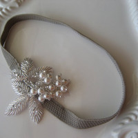 Pearl Beaded Applique Headband Leaf Applique and by lewisandbucky