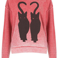 Twin Cat Burnout Sweat - Sweatshirts & Hoodies - Jersey Tops  - Clothing
