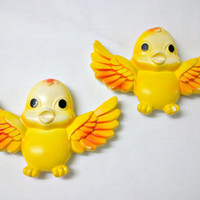 Vintage Chalkware Birds in Yellow & Orange by by ItchforKitsch