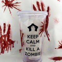 Keep Calm And Kill A Zombie Double Wall Tumbler for Cold Drinks