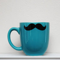 Mustache Mug - Teal/Turquoise/Aqua - Coffee, Tea, Latte