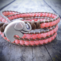 Good Luck Elephant & Coral Leather Wrap Bracelet
