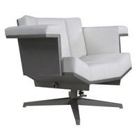 Armchair Deluxe, Inox with White Leather - Sofas + Pouffes + Lounge Seating - Living