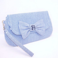 Wristlet/Clutch with Monogrammed Bow Pin - Classic Seersucker in Choice of Navy Blue, Pink, Lime or Espresso