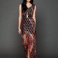 Free People Tie Dye Lace Column Dress