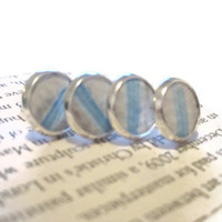 Multiple Pairs of White and Blue Earrings for Wedding Party or Group of Friends, leather earrings