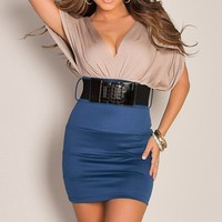 Sophisticated Sexy Two Tone Block Bandage Plunge Teal Cocktail Dress