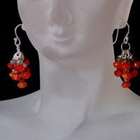 VALENTINE'S GIFT,FENG SHUI,GEMSTONES CARNELIAN,LABRADORITE,EARRINGS