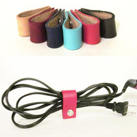 Cicada Leather Company — Leather Cord Organizer - Blue,Teal, Black, Pink - Made in USA