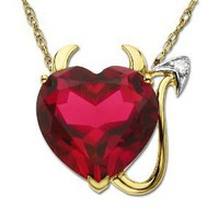 14k Yellow Gold Created Ruby Heart Devil Pendant with Diamond-Accent, 18""