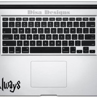 "Harry Potter inspired Deathly Hallows / ""Always"" vinyl decal - Trackpad decal - Macbook decal - Harry Potter decal - Deathly Hallows decal"
