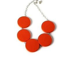 Orange Necklace. Neon Jewelry. Chunky Wood Necklace. Bright Color, Etsy Orange, Tango Tangerine