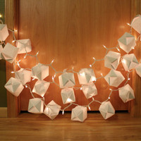 Lighted Origami Paper Lantern Garland Shabby Chic Color Motif