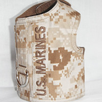 U.S.Marine Corps Dessert Camo Dog Harness with Name/Service Tab - Size XS, S, M