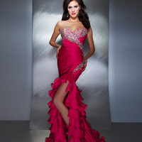 Mac Duggal Prom 2013- Fuchsia Gown With Ruffle Skirt - Unique Vintage - Cocktail, Pinup, Holiday &amp; Prom Dresses.