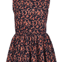 "ROMWE | Sleeveless ""Multiple Leaf"" Orange Dress, The Latest Street Fashion"