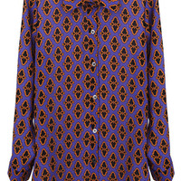 ROMWE | Abstract Pattern Print Purple Buttoned Shirt, The Latest Street Fashion