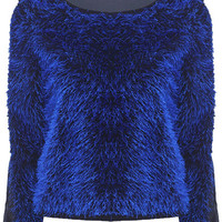 ROMWE | Splicing Fluffy Blue Blouse, The Latest Street Fashion
