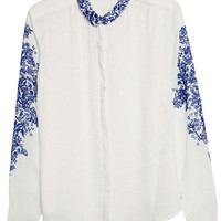"ROMWE | ""Blue and White Porcelain"" White Shirt, The Latest Street Fashion"
