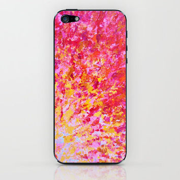 ROMANTIC DAYS - Lovely Sweet Romance, Valentine's Day Sweetheart Pink Red Abstract Acrylic Painting iPhone & iPod Skin by EbiEmporium | Society6