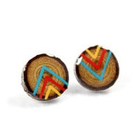 Turquoise, Red, and Yellow Chevron - Small Painted Branch Post Earrings
