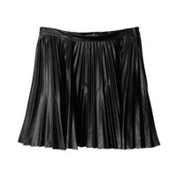 Black Pleated Polyurethane Skirt | Choies