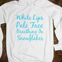white lips pale face breathing in snowflakes - glamfoxx.com