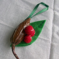Holiday Christmas Ornament NatureInspired with Red by Mongella