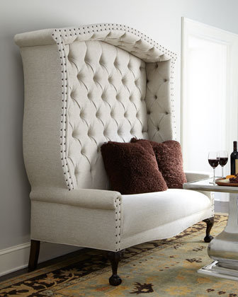 "Haute House - ""Bridgeport"" Settee & Fuzzy Accent Pillow - Horchow"