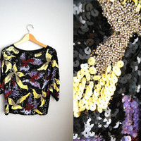 My Fairlady - Vintage 80s Black Glitter Sequin Party NYE Top