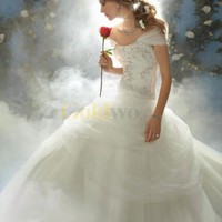 Disney Fairy Tale Weddings Style Shrug Strapless Satin Tulle Wedding Dress - US&amp;#36;268.99 - Goldwo.com
