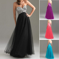New Shining Sexy Beaded Tulle Formal Party Long Prom Gown Cocktail Evening Dress