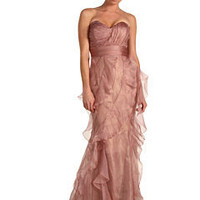Badgley Mischka Ruffle Strapless Mauve Foil Dress (Mauve) - Dresses