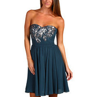 Rebecca Taylor Beaded Feather Strapless Dress (Peacock) - Dresses