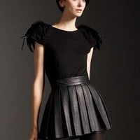 Couture Black Leather Pleated Aline Skirt  Custom by austineshu