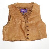 vtg 80s RALPH LAUREN Southwestern LEATHER Hippie boho ethnic top VEST Jacket | eBay