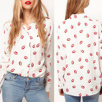 Sexy Hot Red Lips Print Women Chiffon Button-down Shirt Blouse