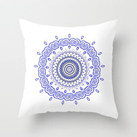 Watercolour BOHO Blue White MANDALA Pillow in three sizes from MONIKA STRIGEL *** Society 6 *** also available as iPhone case, skins, prints