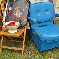 Vintage Salon Chair in Brilliant Blue Vinyl