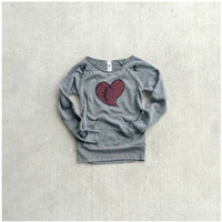 SALE - womens sweatshirt - winter fashion - heart in stitches print on heather gray eco-fleece pullover - The Rebound - S/M/L/XL