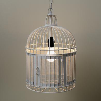 The Land of Nod: Kids Lighting: White Birdcage Pendant Light in ...