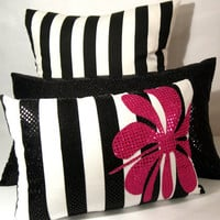 black white stripe/ pink sequin appliqued/ pillow cover 12 X 17