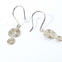 Dainty Sterling Silver Double Spiral Earrings