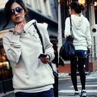 Korean Womens Solid Hoodies Hooded Sweats Outerwear Long Sleeve Buttons