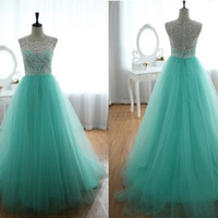 Lace Tulle Wedding Dress Prom Ball Gown Blue Tulle Dress