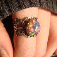 Fire Opal Antique Silver Filigree Ring- Adjustable (804)