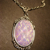 Victorian Style Lilac Opal Necklace in Antique Silver  (802)