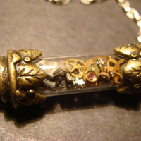 Unique Steampunk Watch Parts in Vial Necklace - Victorian Style (798)